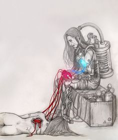"""""""Cyborg's love.. I try to fix it... but i can't"""" Draw in pencils and ph by Flopy Valhala #character #design #illustration #drawing #comics #conceptart #flopy #valhala #cyborg #couple #sad #pain #save her #mechanix #heart"""