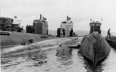 German subs in Bergen, Norway, April 1945. Subs still on patrol at the time of Germany's surrender were ordered to the nearest harbor to officially turn themselves over to the allies.