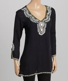 Another great find on #zulily! Black & White Beaded Tunic - Women by Pink Cattlelac #zulilyfinds
