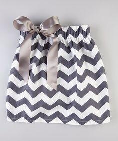 Look at this #zulilyfind! Gray & White Zigzag Bow Skirt - Infant, Toddler & Girls #zulilyfinds