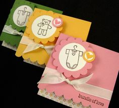 4 Baby Gift Note Cards  Handmade  3x3  Teddys by PaperCraftLady, $7.00