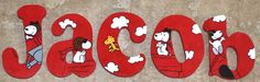 Personalized Wooden Wall Letters for Nurseries - Snoopy Red Baron theme JACOB by AllysCustomArt, $10.00