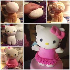Tutorial for Hello Kitty made of Rice Krispie treats