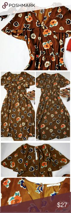 Brown Floral Flutter Sleeve Midi Dress WithPockets Has pockets. New without tags. Hazel Dresses Midi