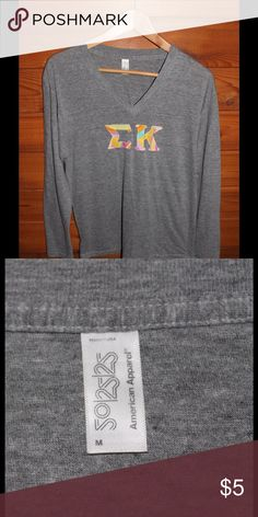 Sigma Kappa V-neck V-neck long sleeve shirt.  Sigma kappa stitching. American Apparel Tops Tees - Long Sleeve