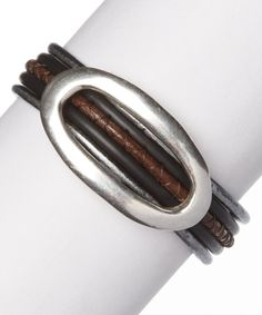 Another great find on #zulily! Gray & Brown Leather & Sterling Silver Bracelet #zulilyfinds