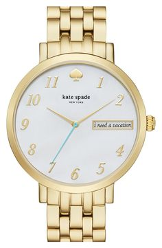 In love with this gold watch from Kate Spade! Polished numeral indexes complement the high-shine finish of the vintage-inspired bracelet while a lighthearted message peeks through a window in the mother-of-pearl dial.