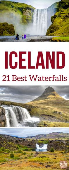 Iceland waterfalls - Discover 21 of the most beautiful falls in Iceland including Seljalandsfoss, Skogafoss, Kirkjufellsfoss, Godafoss, Dettifoss.. the most elegant, the most powerful, the most unique... | Iceland Travel Guide | Iceland itinerary | Iceland things to do | #Iceland