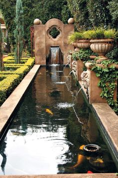 Koi pond with fountains Formal Gardens, Outdoor Gardens, Formal Garden Design, Garden Fountains, Outdoor Fountains, Garden Ponds, Water Fountains, Water Features In The Garden, Fish Ponds
