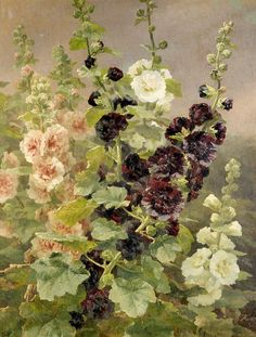 "art-and-dream: "" Art painting by Anthonore Christensen, Danish "" Flora Art Floral, Hollyhocks Flowers, Hydrangeas, Art Gallery, Dream Art, China Painting, Paintings I Love, Botanical Art, Vintage Flowers"