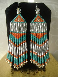 Beadwork Chevron Earrings  Long Turquoise and by WorkofHeart