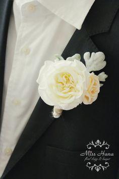 White Garden Rose Boutonniere rustic boutonniere, white pink boutonniere, hydrangea boutonniere