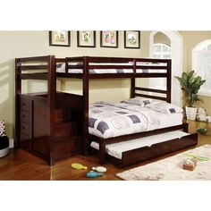 Pine Ridge Espresso Bunk Bed with Drawers and Steps | Overstock.com Shopping - The Best Deals on Beds