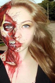 There is nothing much more interesting and creepy than the human anatomy. Human insides Halloween makeup theme will surely make you cringe. The realistic details on the makeup are truly a work of art.