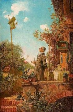 Spitzweg, Carl , - Sunday Morning / Painting / Works of art / Silesian Art Collections - Rariora Artis Painting Words, Painting & Drawing, Klimt, Carl Spitzweg, Antoine Bourdelle, L'art Du Portrait, Fantasy Figures, Classical Art, Henri Matisse
