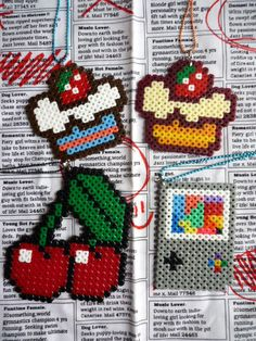 NEW Kitsch Pixel Hama Bead Necklaces (Gameboy, Cupcakes, Cherry)