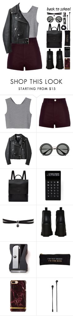 """""""Go Back-to-School Shopping!"""" by lisannes1 ❤ liked on Polyvore featuring Monki, River Island, Acne Studios, Miu Miu, Building Block, LEXON, Fallon, Dr. Martens, Monkey Business and Rosanna"""