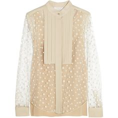 Chloé Polka-dot tulle blouse (1.875 BRL) ❤ liked on Polyvore featuring tops, blouses, blusas, beige, chloé, polka dot top, beige top, polka dot blouse, polka dot cami and loose tops