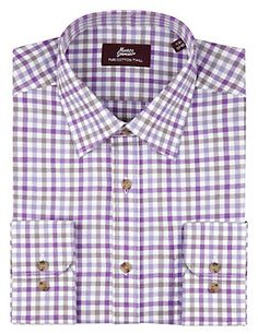 Lilac Pure Cotton Gingham Checked Twill Shirt