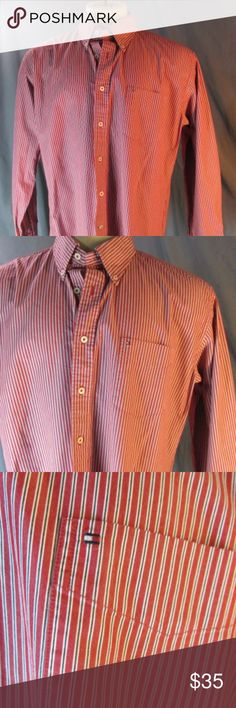 """Tommy Hilfiger Red White Striped Button Down Shirt Tommy Hilfiger Red White Striped Button Down Shirt XL Pocket Logo 100% Cotton \  100% crisp Cotton, red with white/blue pinstripes. Button down collar, front chest pocket with small Hilfiger logo. Long sleeve, button cuff.   Marked/tagged size XL      Chest (underarm to underarm x2) 52""""     Length (Back center to end) 35""""     Shoulders (Cross back seam to seam) 20""""     Sleeves (approx top of shoulder to end) 26"""" Tommy Hilfiger Shirts"""