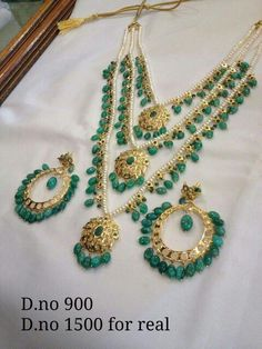 Necklace Indian Jewelry Sets, Indian Wedding Jewelry, India Jewelry, Bridal Jewellery, Emerald Jewelry, Beaded Jewelry, Gold Jewelry, Hyderabadi Jewelry, Jewelry Patterns
