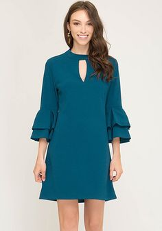 Lovely teal shift dress with bell sleeves. polyester, spandex Slightly stretchy Not lined Hand wash cold; hang dry Women's Vintage-Style Dresses & Accessories - Canada Living By The Sea Dress - Dress Outfits, Casual Dresses, Short Dresses, Fashion Dresses, A Line Dress Work, Dresses For Work, Beautiful Long Dresses, Pretty Dresses, Sea Dress