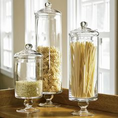 #Cultivateit I want glass apothecary jars for dried goods in the kitchen. A lovely way to display food and keep it functional. Pasta, rice, sugar, flour...ect. I would like a variety of shapes and sizes, though.