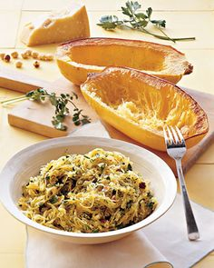 7 spaghetti squash recipes - Great pasta replacement, virtually NO calories!!! Just bought spaghetti squash. Can't wait to try these!