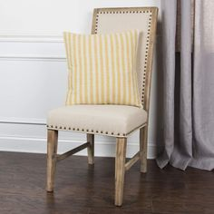 Ticking Stripe Cotton Yellow/Natural Poly Filled Pillow