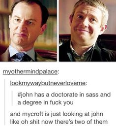 Part of me wonders if Sherlock chose John because he knew Mycroft would suffer.  That caption lol