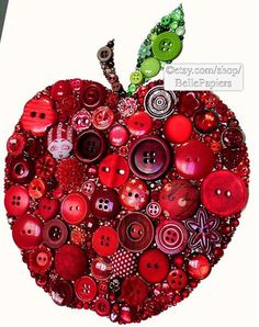 Button crafts For Teachers - Apple Decorations Fruit Flowers Anniversary Apple Button Art Apple for the Teacher Buttons and Swarovski Rhinestones Teacher Appreciation crafts crafts crafts decoracion crafts Crafts To Make, Crafts For Kids, Arts And Crafts, Paper Crafts, Easy Crafts, Button Art, Button Crafts, Button Canvas, Heart Button