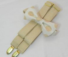 Champagne Stripe Suspenders and Polka Dot Bow Tie. Sizes Infant-Adult. Free Fabric Sample Available.