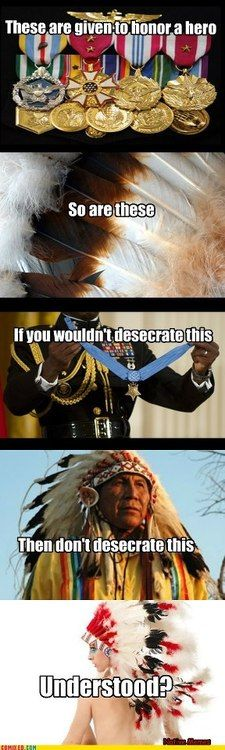 """vivelafat: """" sleepyassassin: """" haytham-senpai: """" ikenbot: """" cultural appropriation 101 """" Seriously guys, wearing a war bonnet without having to suffer blood, sweat and tears for it is so disrespectful to all the servicemen who have sacrificed. War Bonnet, Cultural Appropriation, Intersectional Feminism, American Pride, American Quotes, Native American Indians, Native Americans, Faith In Humanity, Social Issues"""
