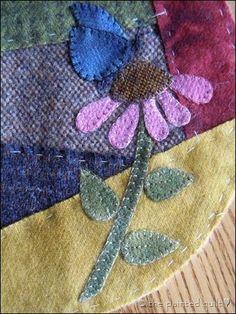 crazy quilt wool pincushion by melissagarsia