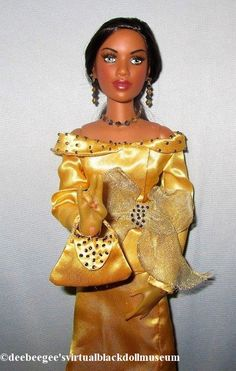 The Essence of Lady Sigma – DeeBeeGee's Virtual Black Doll Museum™ Gold Satin Dress, Satin Bows, Ribbon Bows, Satin Dresses, 16 Inch Hair, Doll Museum, Gold Handbags, Doll Stands, Ponytail Holders