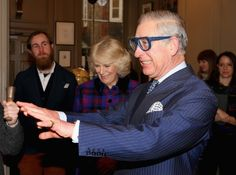 Prince Charles wore a pair of quite modern looking safety goggles and joked that he couldn't see anything wearing them.