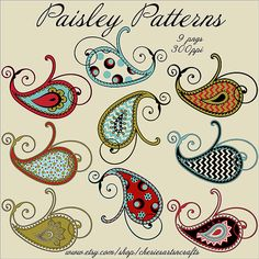 Paisley Patterns PNG Files Paisley Graphics by CheriesArtsnCrafts, graphic designers, need paisley patterns? I create for designers! #graphics #clipart #clipartsets #paisley #paisleygraphics