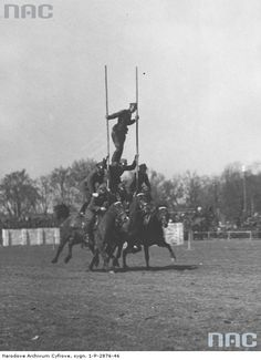 Pokazy sprawnościowe kawalerii podczas rewii wojskowej na Polu Mokotowskim. Grupowa ekwilibrystyka konna.