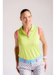 Birdees and Bows Women's Solid Sleeveless Golf Shirt Ruffles-Lime with Hot pink Ruffles
