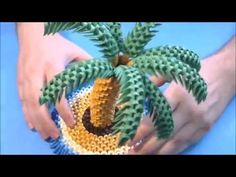 How to make 3d origami Palm tree part2 - YouTube