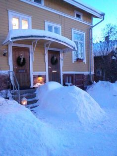 Winter in Finland. Our house, picture taken by me.