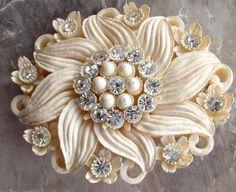 Celluloid Jewelry | Celluloid Featherlite Bubbleite Japanese Rhinestone Brooch Vintage ...