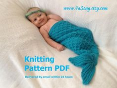 Mermaid Cocoon Knitting Pattern -- Charming Newborn Photo Prop -- PDF Number 115 -- Sent via Email -- 10,000 patterns sold. $4.00, via Etsy.