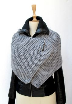 CROCHETBUTTERFLY: Knitting Knit Knitted Capelet, Poncho Wrap Grey Chunky Sporty Pin Brooch Beaded