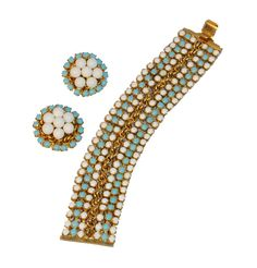 Hobe 50s Bracelet & Earrings Set Aqua White Cabochons Gold Tone