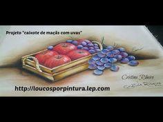 """Projeto """"Caixote com maçãs e uvas"""" - Pintura em tecido"""