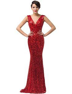 Grace Karin® Women s Red Deep-V Sequins Gown Mermaid Evening Dresses CL6052  (16 f69cbe3db