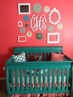 Chalk paint crib with ruffled crib skirt