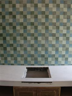 Same house, different bathroom. Heritage Cement tiles in a funky checkerboard pattern!