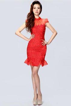 Robe de mariée rouge courte en dentelle